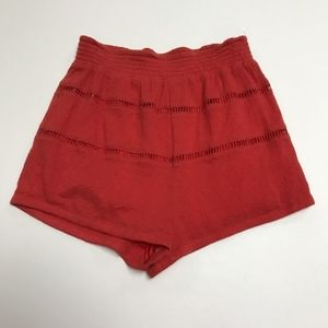 Free People Red Cotton Gauze Mini Pull On Shorts S